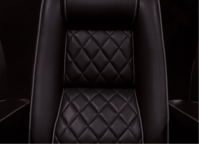 C1 Black Onyx Silk Leather Flint Grey piping with quilted insets