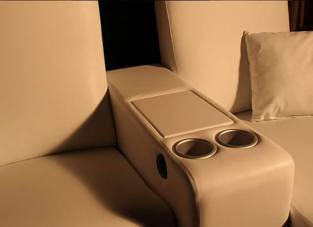 Custom arm rest theater seat storage