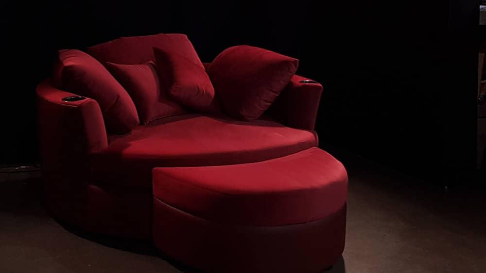 Cuddle Couch Berry Cine-Suede top Dark Cherry Valentino Base Gun Metal Cupholders