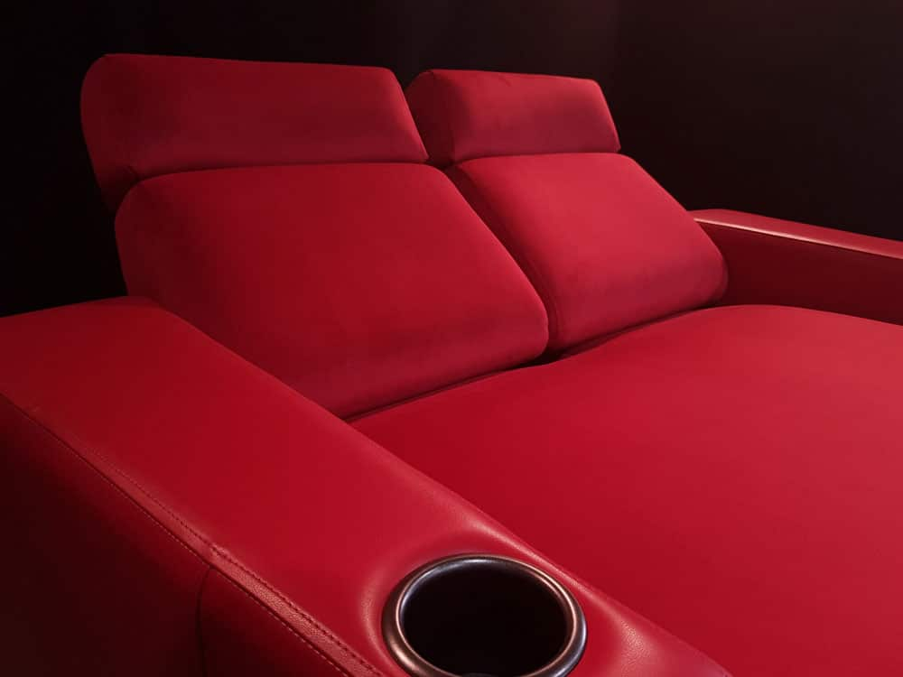 Red leather Chaise with cup holder