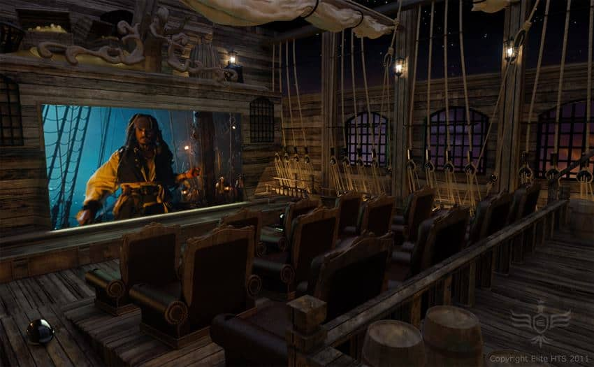 Pirates of the Carribean Home Theatre Room Mockup