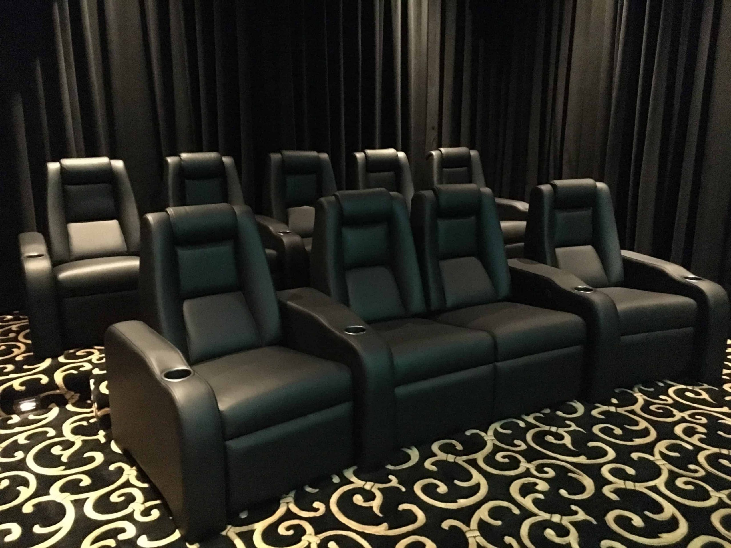 Theatre Miami Fl, black leather, 2 loveseats