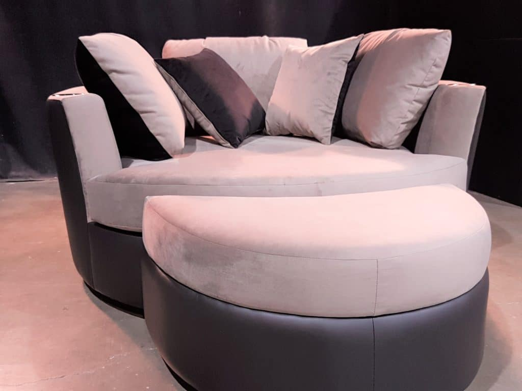cuddle couch for a basement home theater
