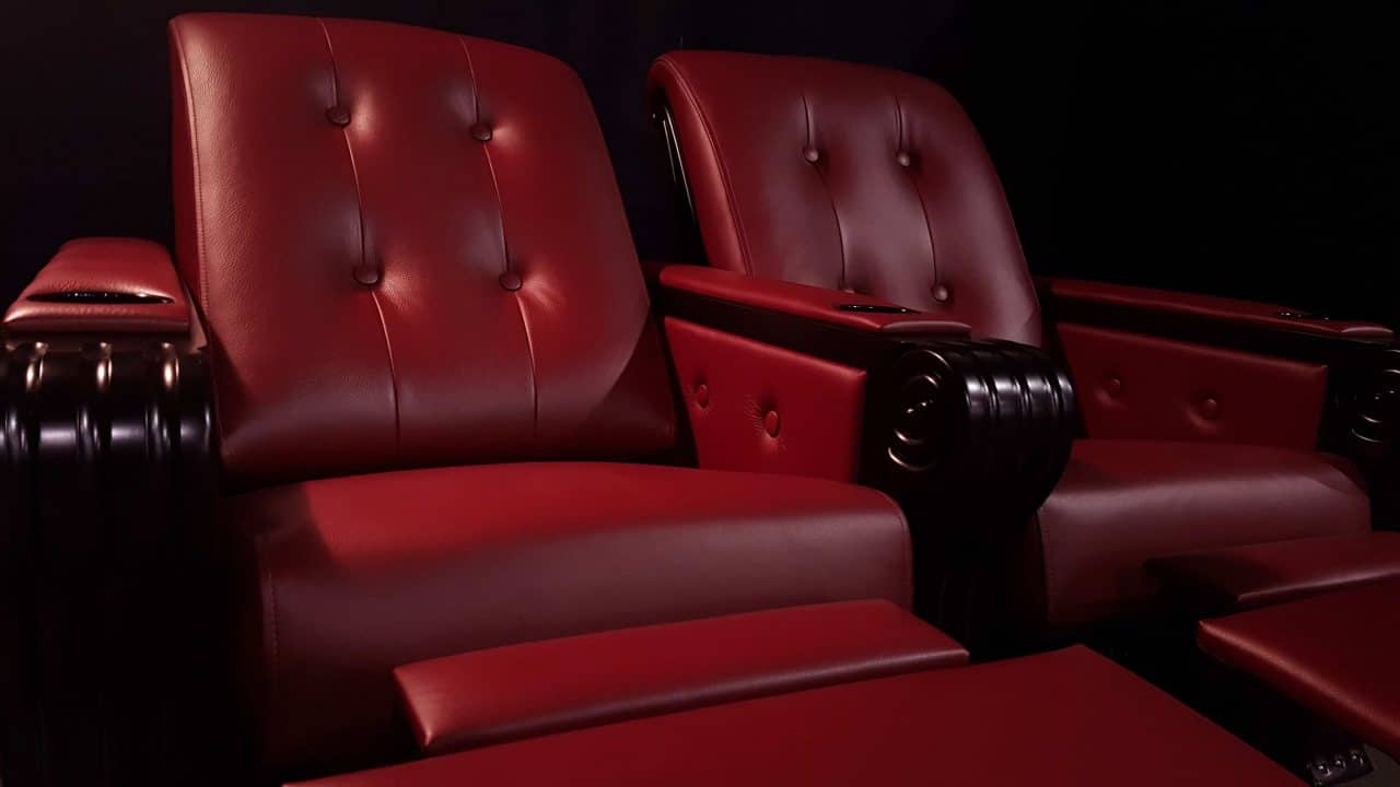 Dark Cherry Valentino Leather with Shade Black Arms partial recline, recliner. chair, seats, single seats