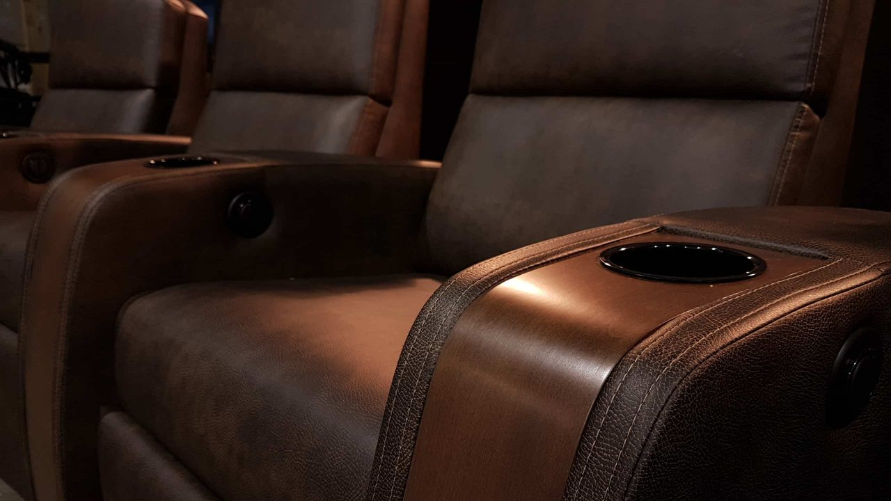 Home theater Brown Leather with Wood Armrest and Black Cup Holders
