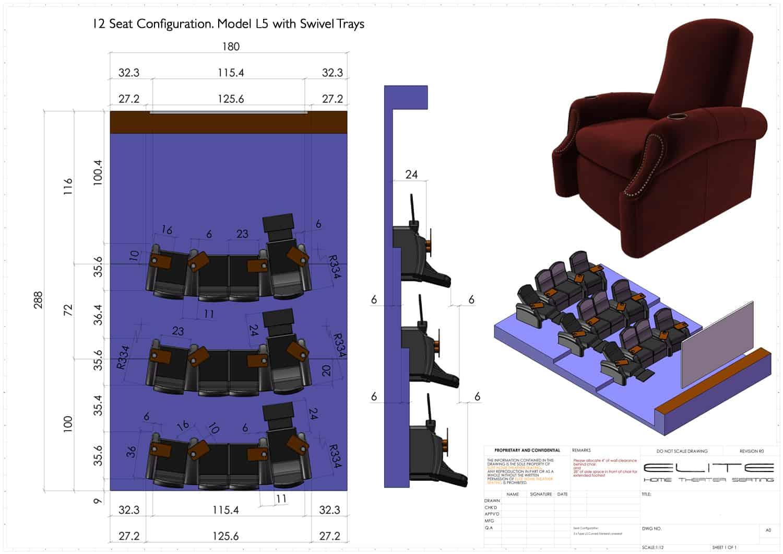3D render, 12 seats