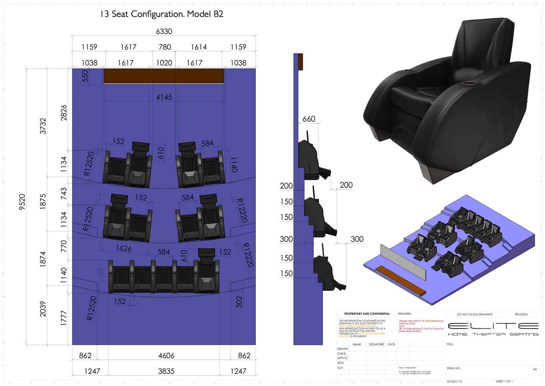 3D render, 13 seats