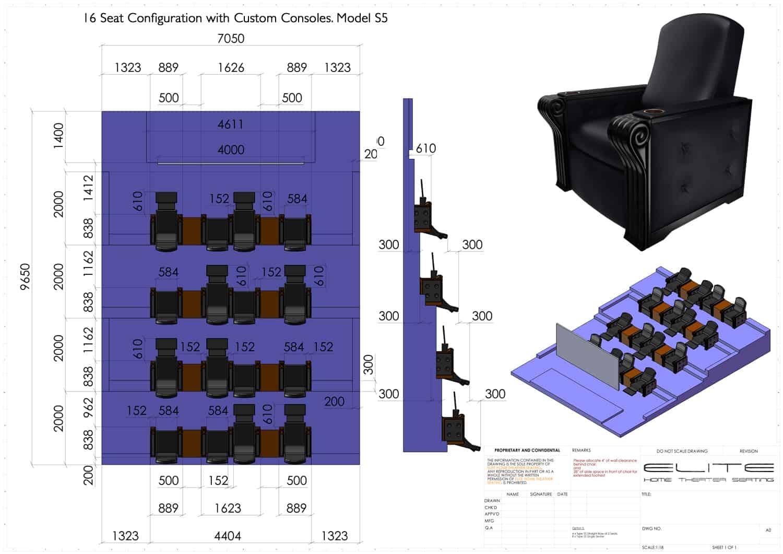 3D render, 16 seats