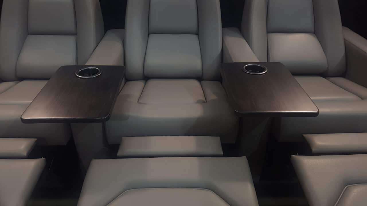 Gray Leather with Trays and Cup Holders