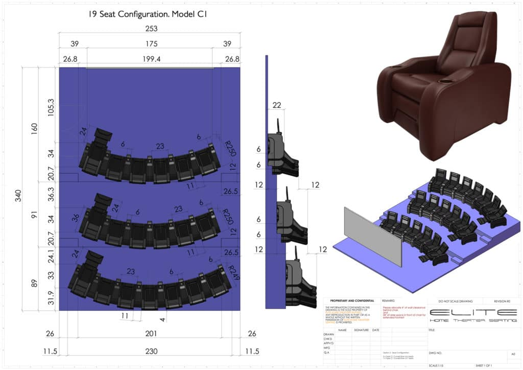 how to design a home theater layout - 3D render, 19 seats