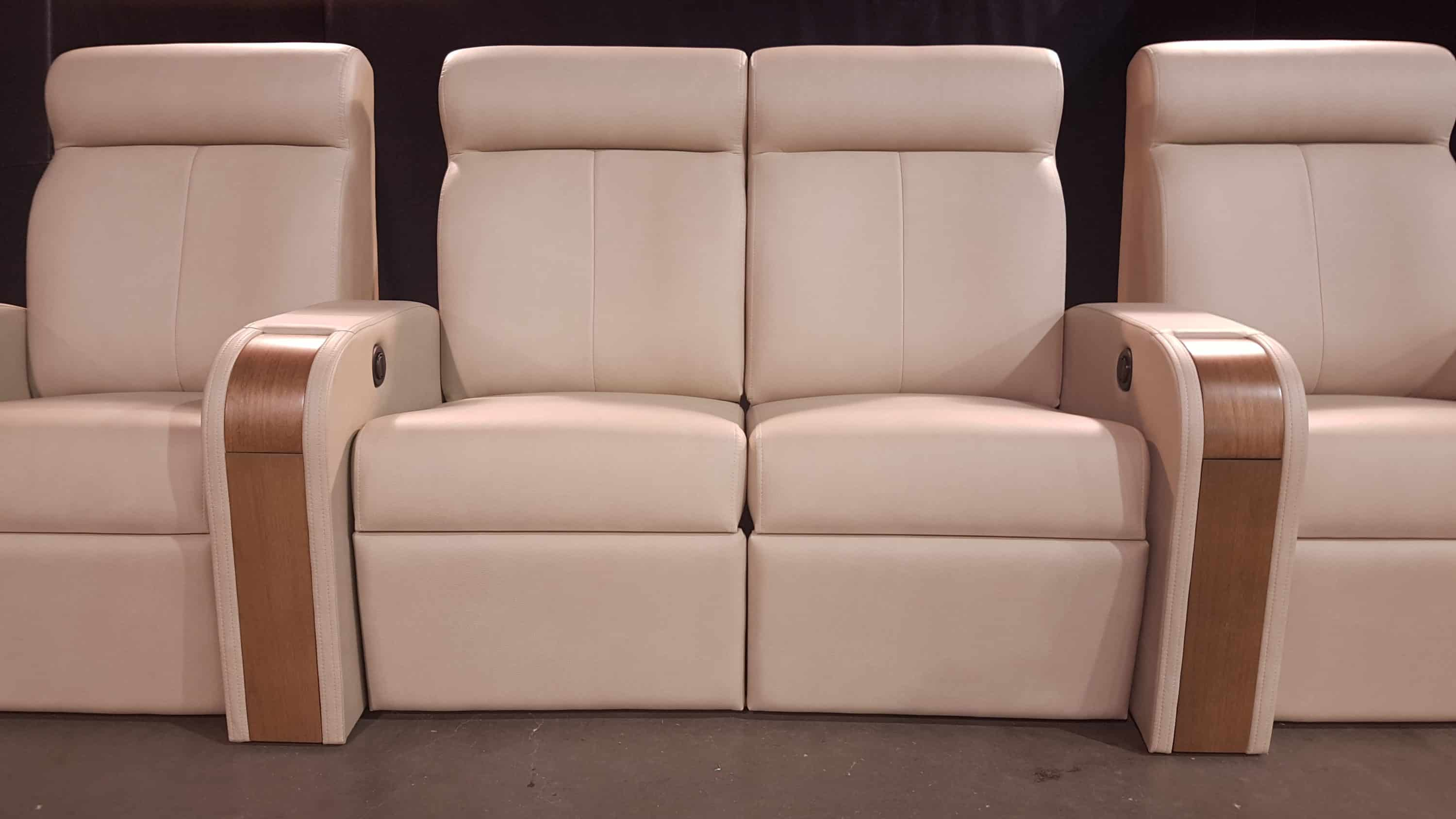 Straight Flanked Loveseat in White Leather with a Wood Finish