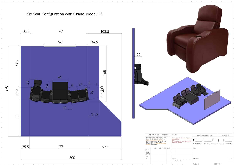 3D render, 6 seats