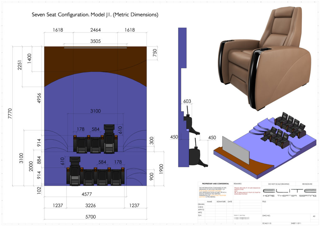 3D render, 7 seats - home theater layout will impact choice of home theater projector