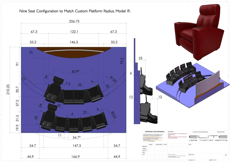 3D render, 9 seats