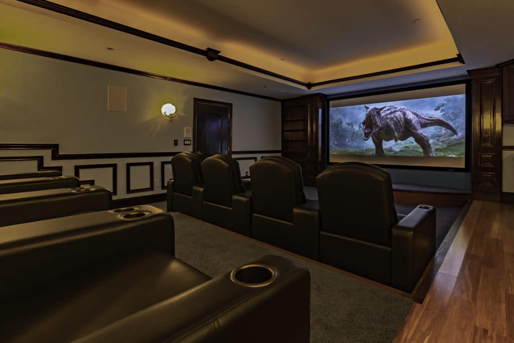 Custom home theater subtle design