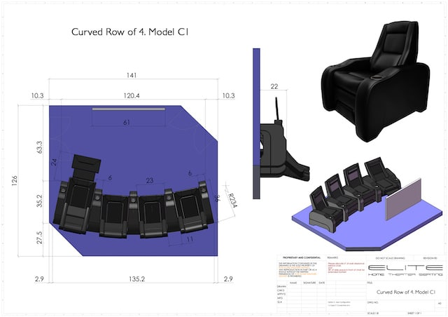 plans for dimensions and number of chairs are part of home theater setup