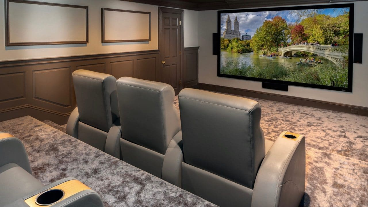 Custom home cinema by Madison Hudson Design