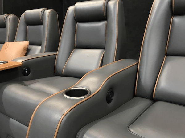 Valentino leather fabric on home theater seating