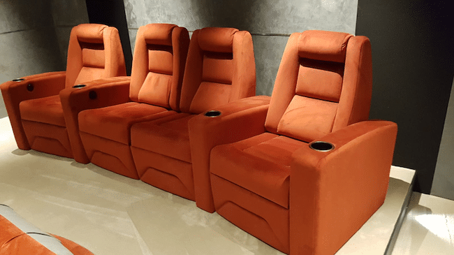 Cine-suede is durable, easy to clean, high-quality home theater fabric