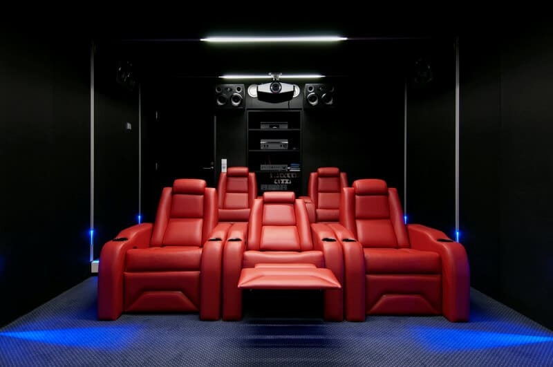 home theater ideas red chairs image c1