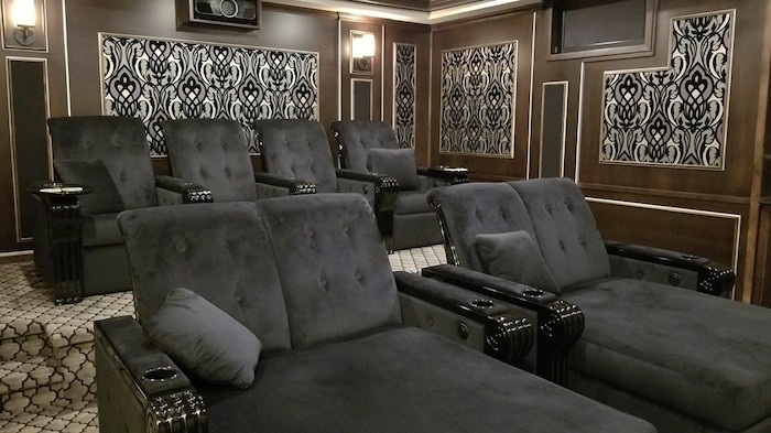 Beautiful custom theater seating makes this design pop