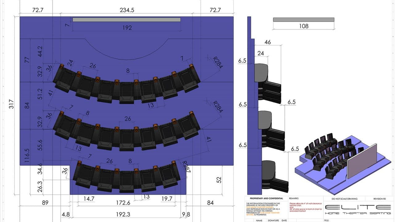 Home theater seating layout design Elite HTS image