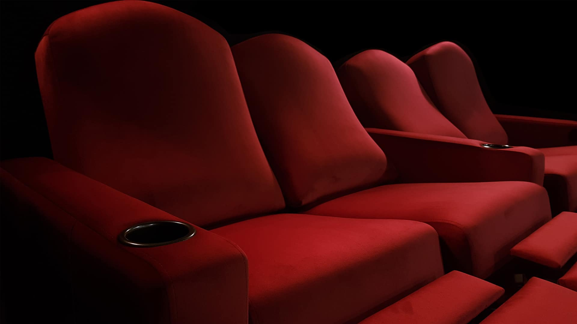 home theater recliner seating red image