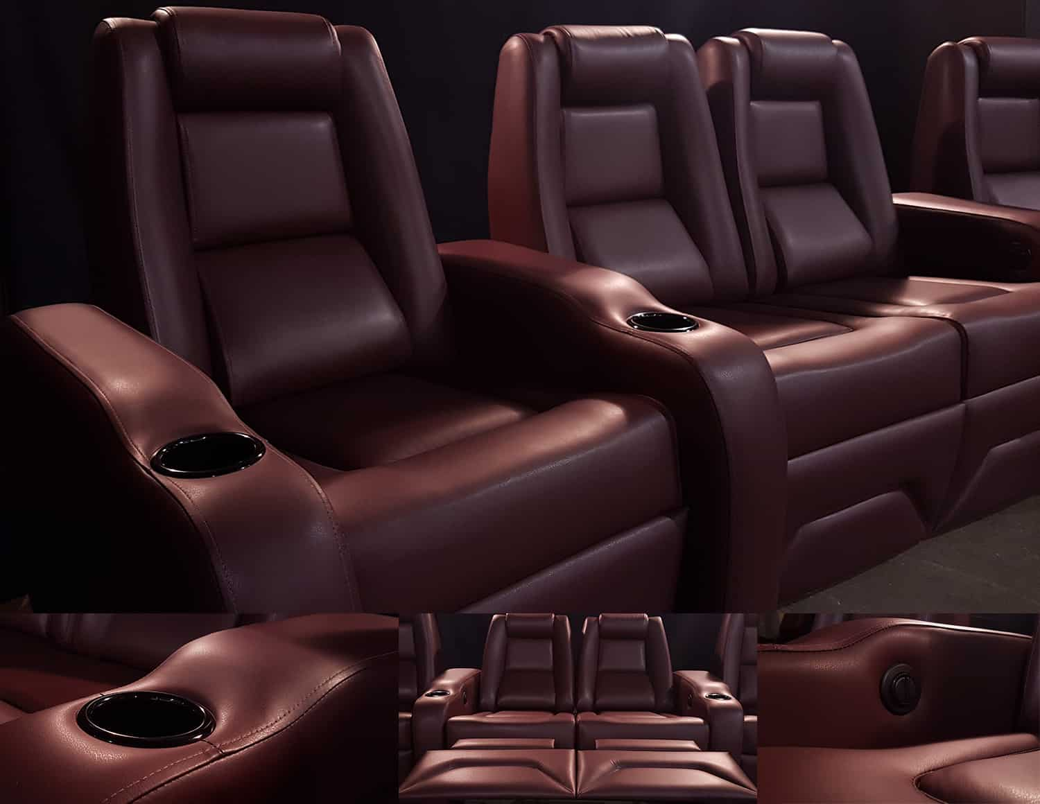 Theater Seats - Brown Leather Custom Recliners