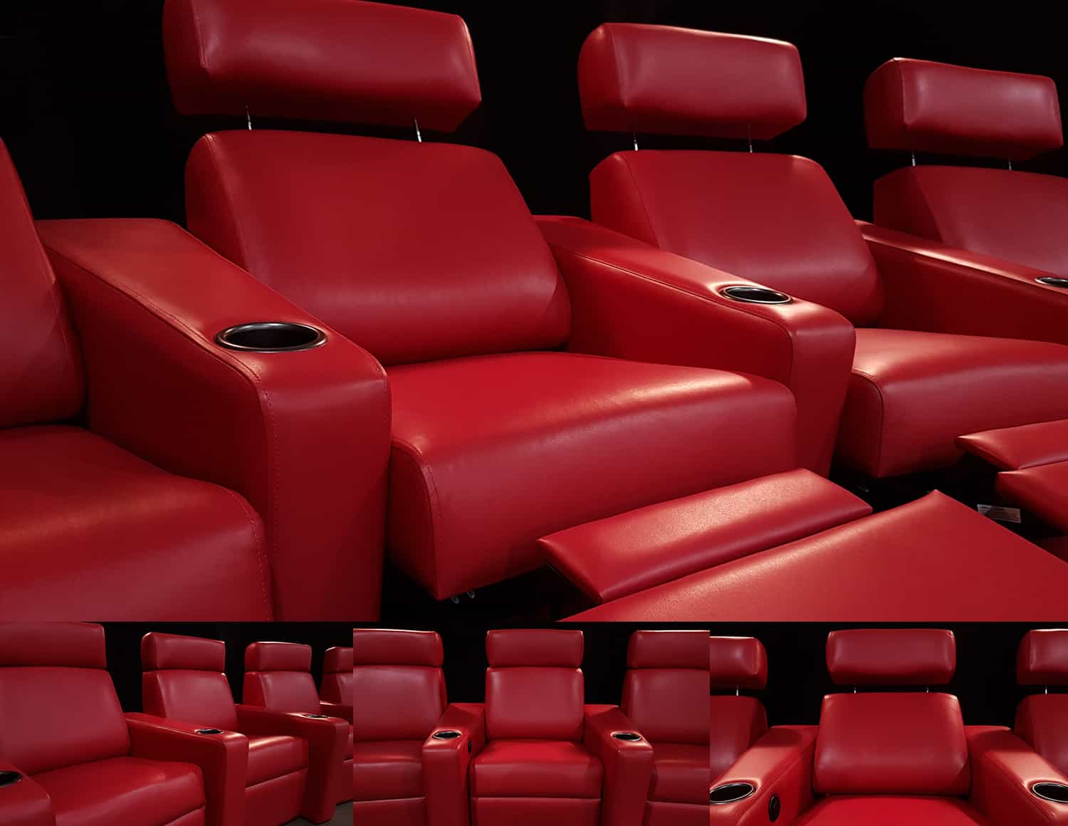 Custom red leather home theatre recliners