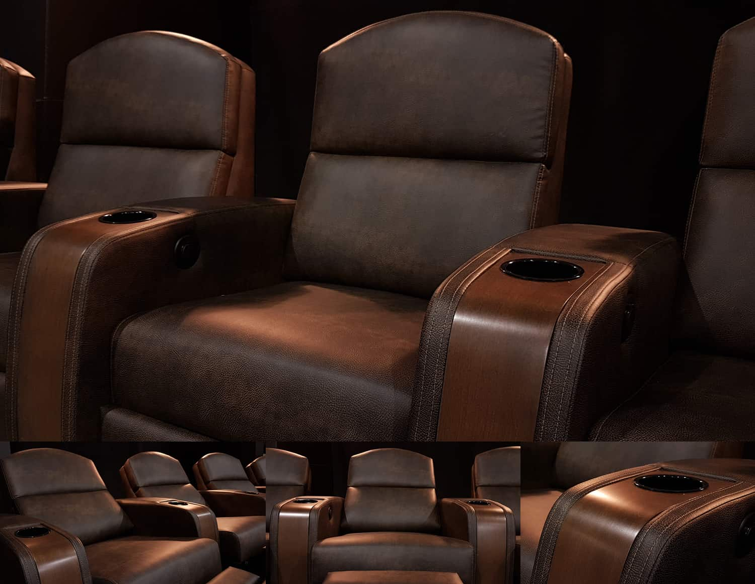 Dark Brown custom leather home theater chairs