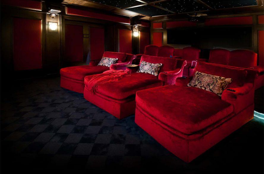 Cuddler chairs red velvet