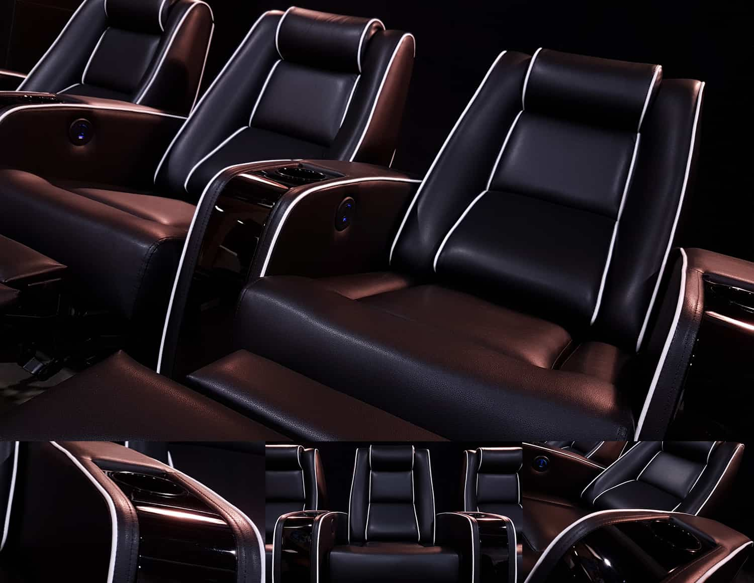 Black Leather Home Theatre Chair