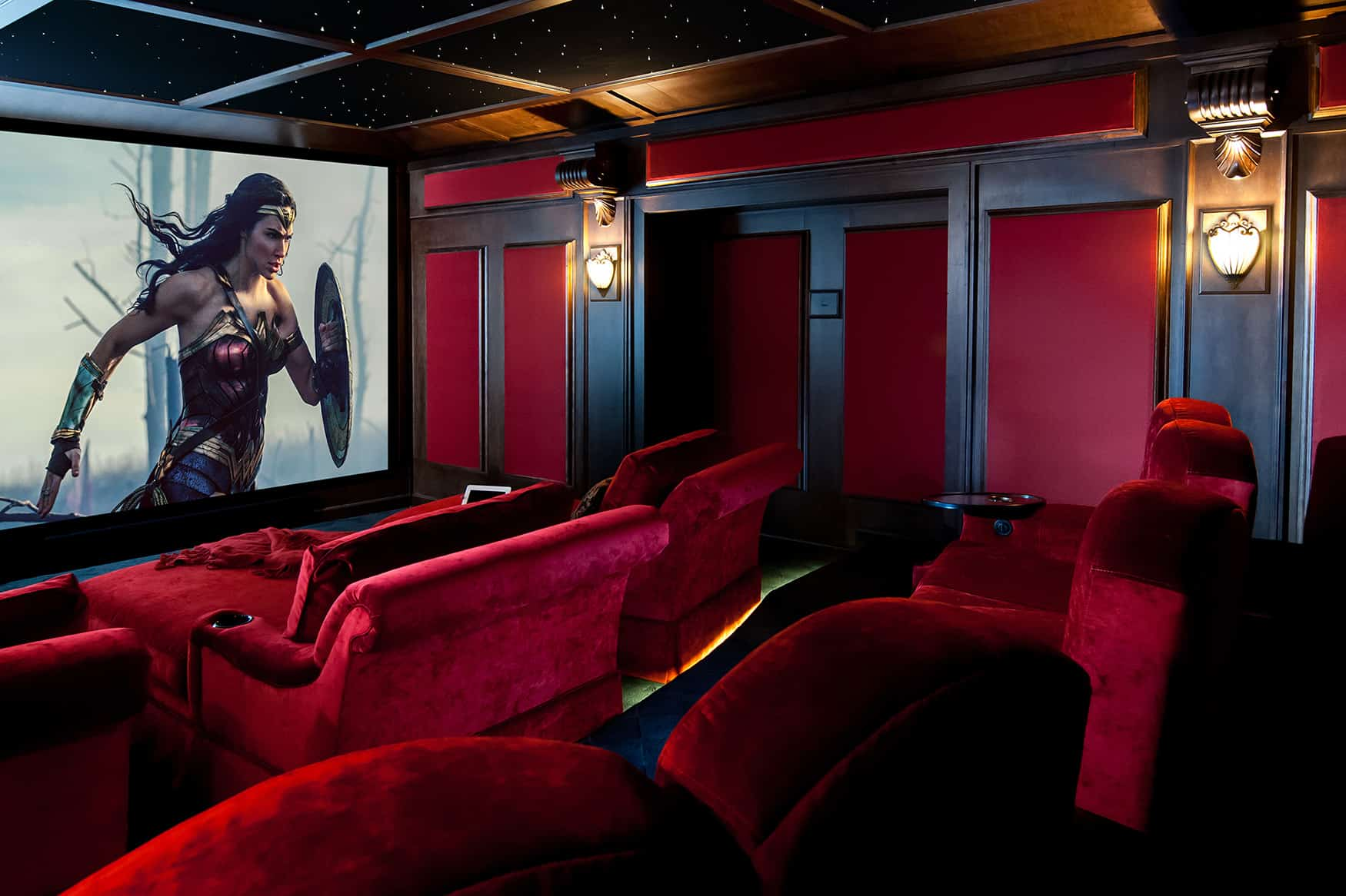 home theatre layout ideas red plush fabric