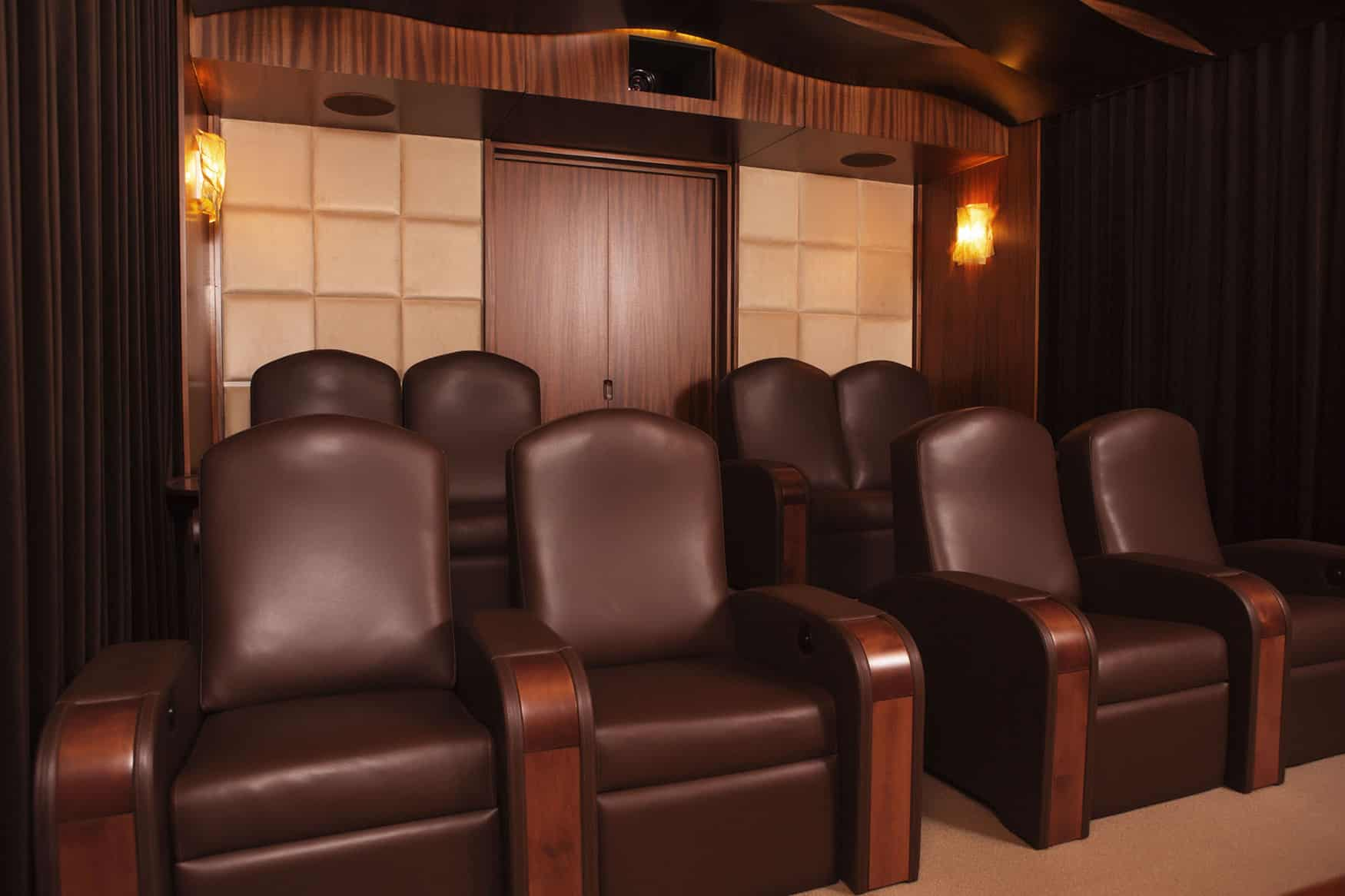 Home theatre seating custom design brown leather