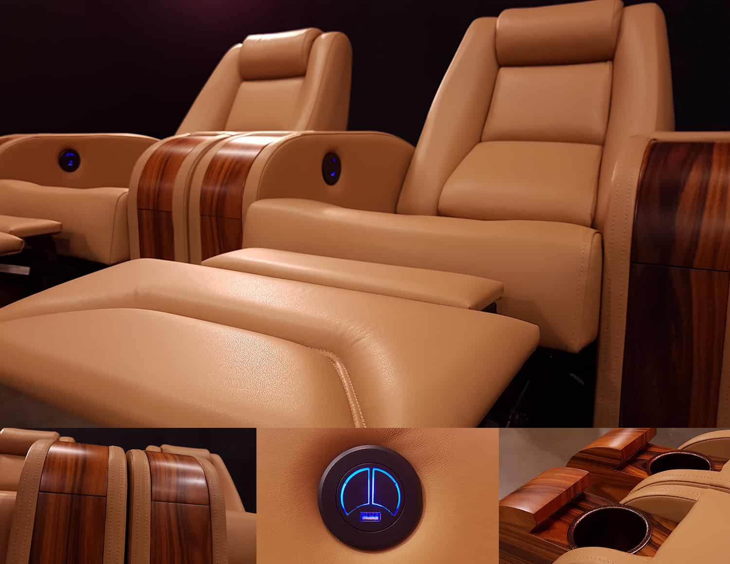 Leather Home theatre chairs yellow