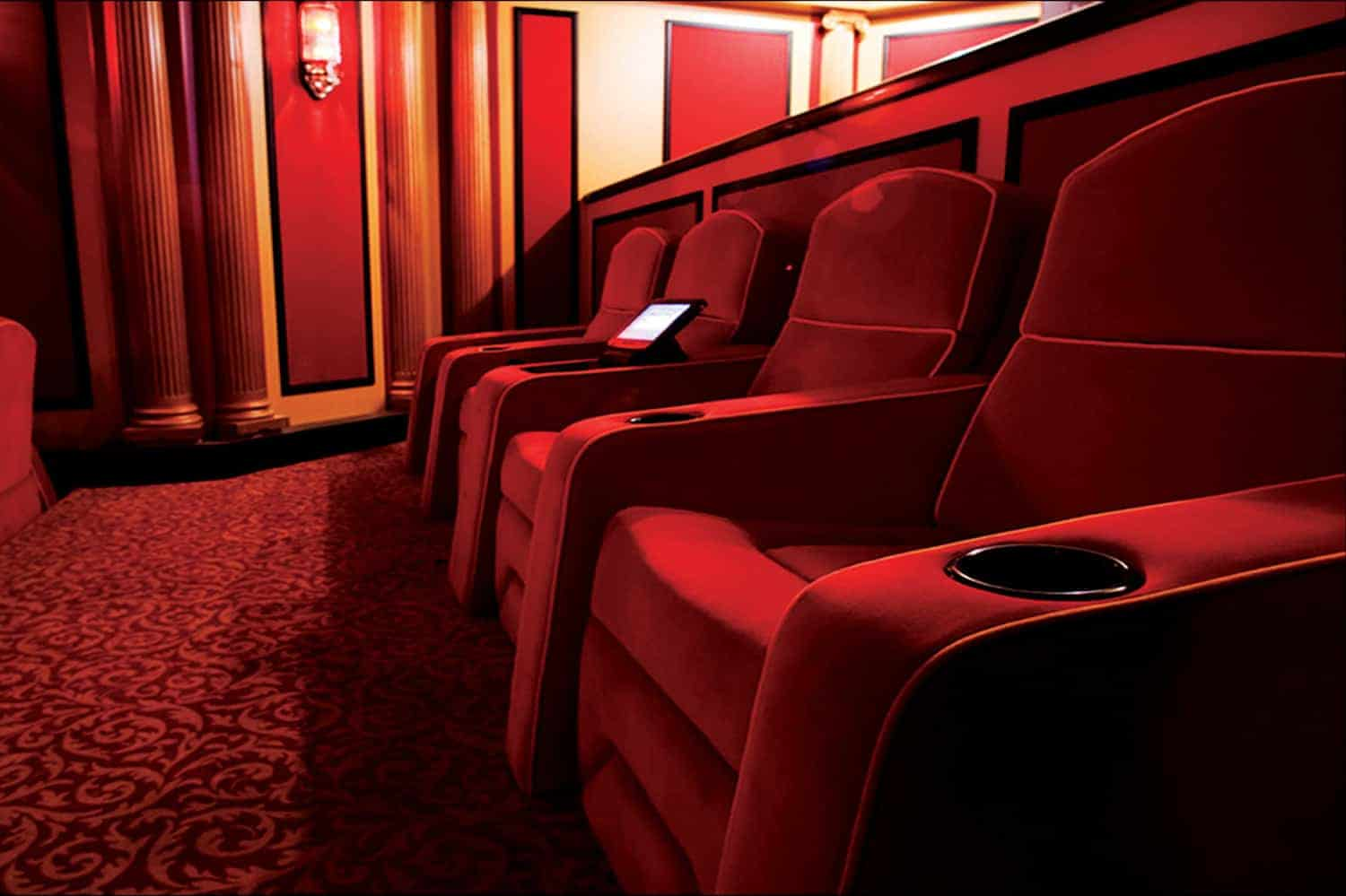 Home theater chairs red velvet
