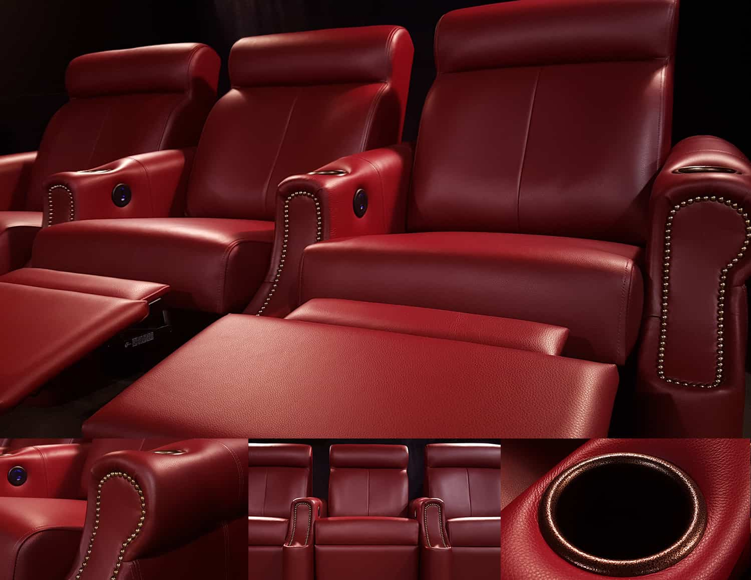 Red Leather Custom Home theatre chairs