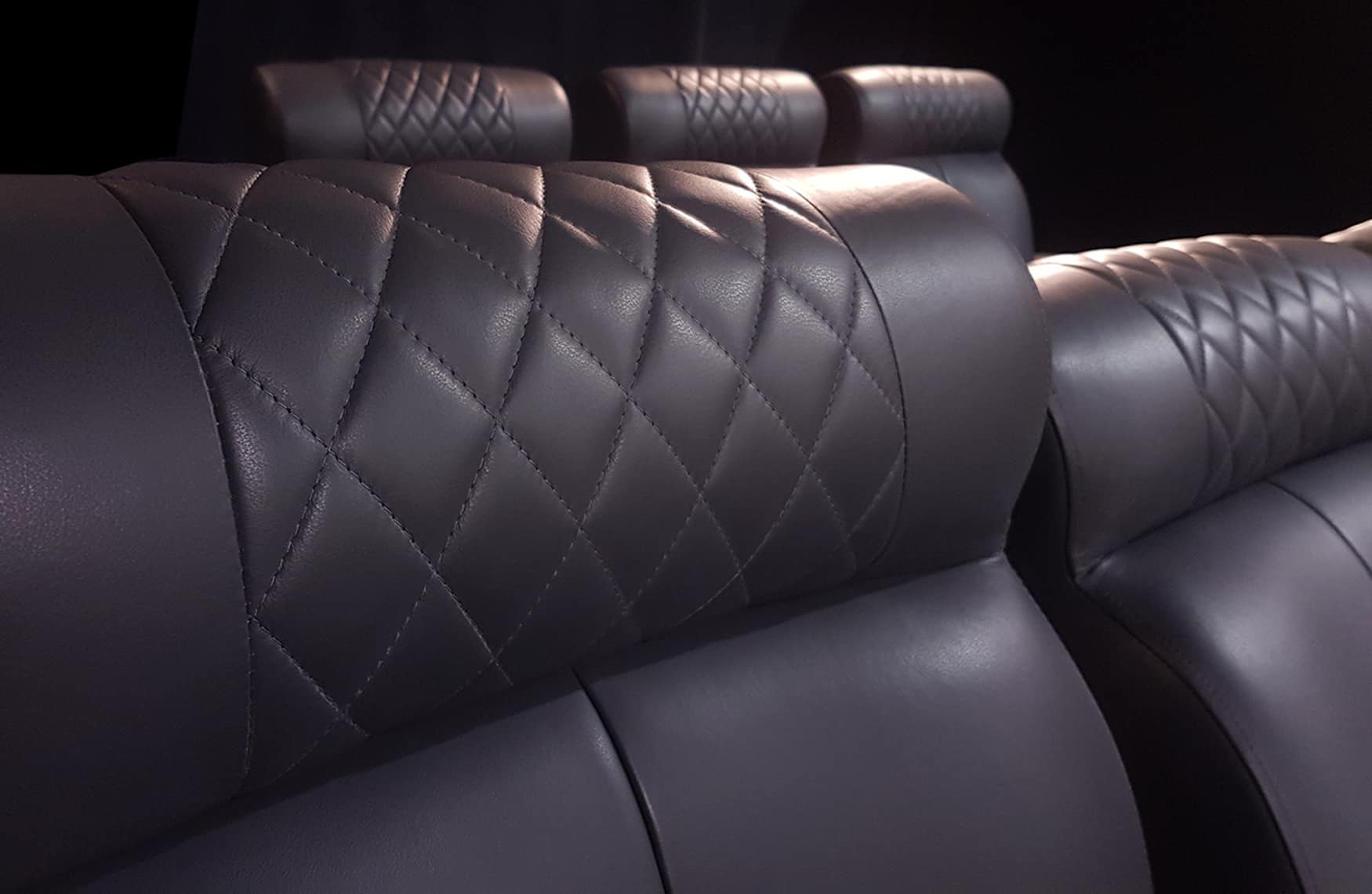 Home theatre chair diamond leather pattern image