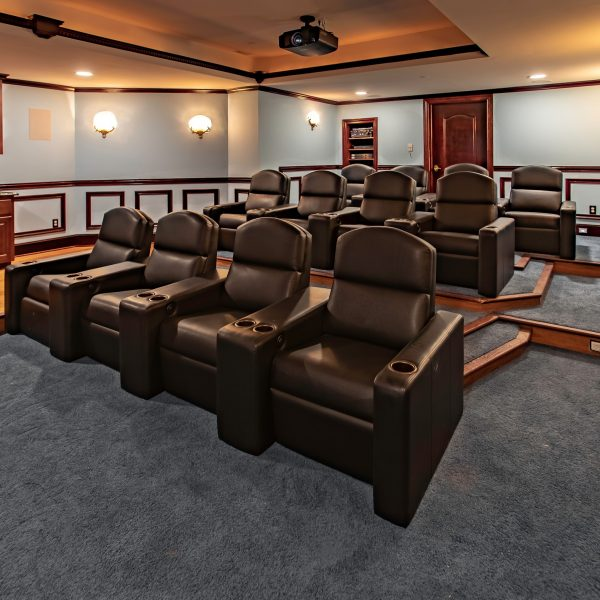 home theater seating black leather